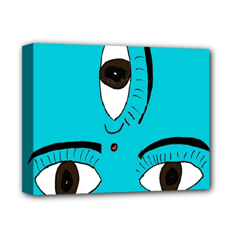 Eyes Three Blue Deluxe Canvas 14  x 11