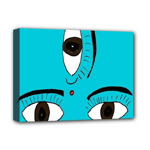 Eyes Three Blue Deluxe Canvas 16  x 12