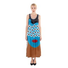 Face Eye Human Sleeveless Maxi Dress