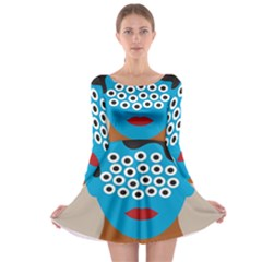 Face Eye Human Long Sleeve Skater Dress