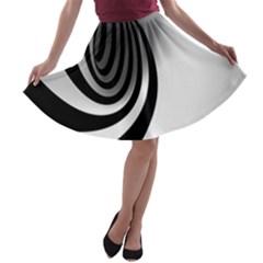 Hole Black White A-line Skater Skirt