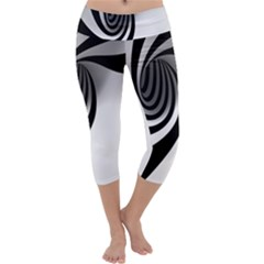 Hole Black White Capri Yoga Leggings