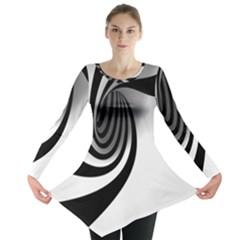 Hole Black White Long Sleeve Tunic