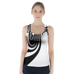 Hole Black White Racer Back Sports Top
