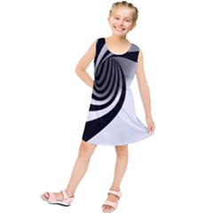 Hole Black White Kids  Tunic Dress