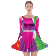 Initial Thumbnails Long Sleeve Skater Dress