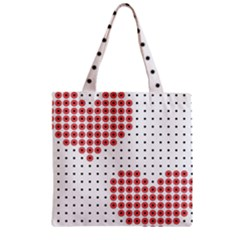 Heart Love Valentine Day Pink Zipper Grocery Tote Bag