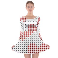 Heart Love Valentine Day Pink Long Sleeve Skater Dress