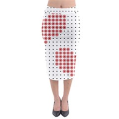 Heart Love Valentine Day Pink Midi Pencil Skirt