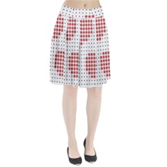 Heart Love Valentine Day Pink Pleated Skirt