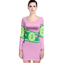 Money Long Sleeve Velvet Bodycon Dress