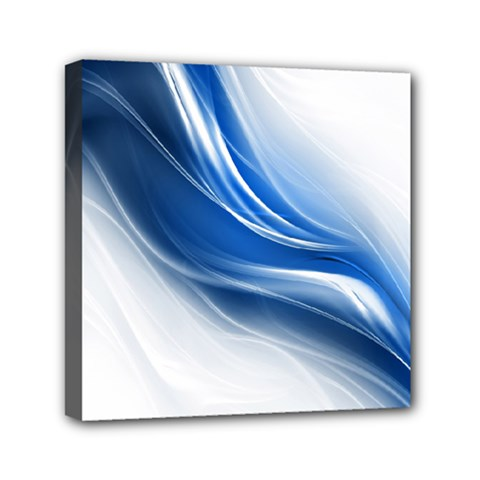Light Waves Blue Mini Canvas 6  x 6