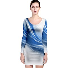 Light Waves Blue Long Sleeve Bodycon Dress