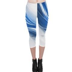 Light Waves Blue Capri Leggings