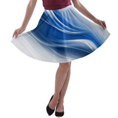 Light Waves Blue A-line Skater Skirt