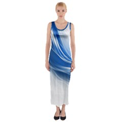 Light Waves Blue Fitted Maxi Dress