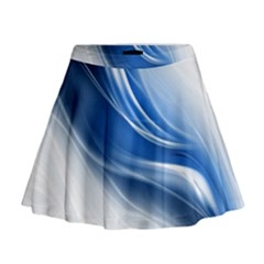 Light Waves Blue Mini Flare Skirt