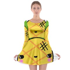 Kawaii Pineapple Long Sleeve Skater Dress