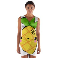 Kawaii Pineapple Wrap Front Bodycon Dress