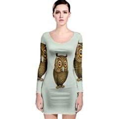 Owl Long Sleeve Bodycon Dress