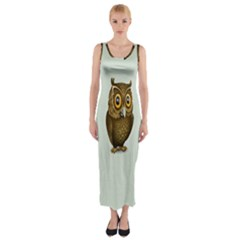 Owl Fitted Maxi Dress