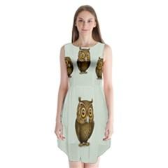 Owl Sleeveless Chiffon Dress