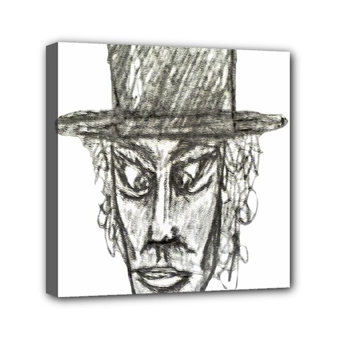 Man With Hat Head Pencil Drawing Illustration Mini Canvas 6  x 6