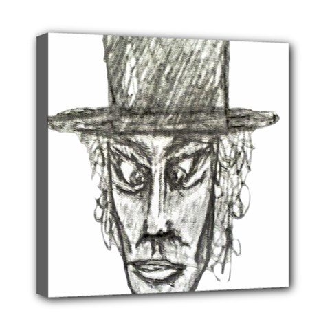 Man With Hat Head Pencil Drawing Illustration Mini Canvas 8  x 8