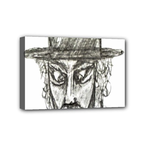 Man With Hat Head Pencil Drawing Illustration Mini Canvas 6  x 4