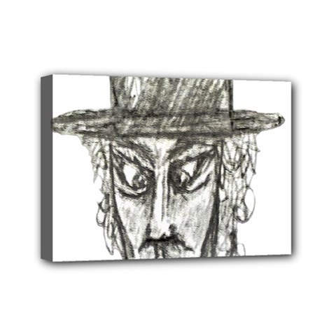 Man With Hat Head Pencil Drawing Illustration Mini Canvas 7  x 5