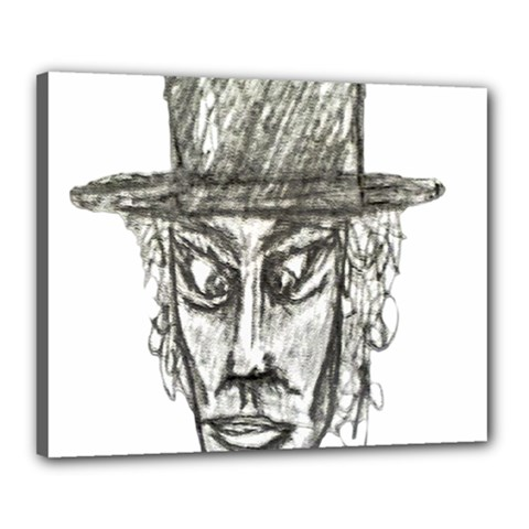 Man With Hat Head Pencil Drawing Illustration Canvas 20  x 16