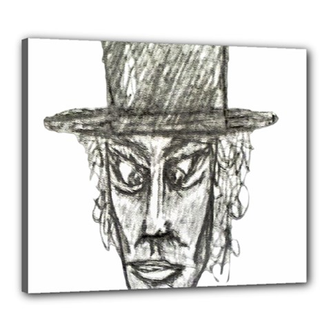 Man With Hat Head Pencil Drawing Illustration Canvas 24  X 20