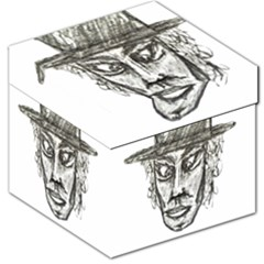 Man With Hat Head Pencil Drawing Illustration Storage Stool 12