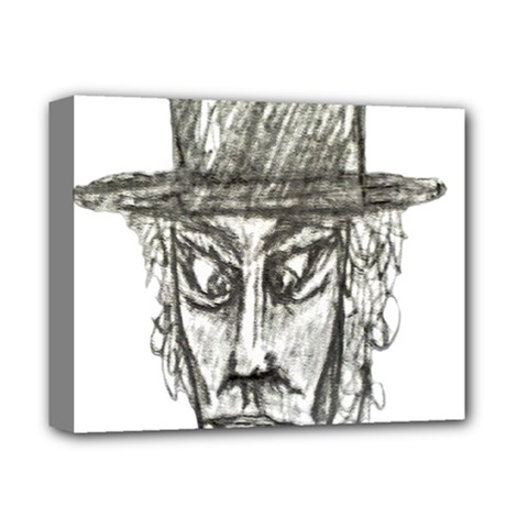 Man With Hat Head Pencil Drawing Illustration Deluxe Canvas 14  x 11