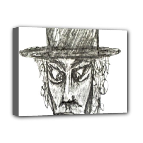 Man With Hat Head Pencil Drawing Illustration Deluxe Canvas 16  x 12