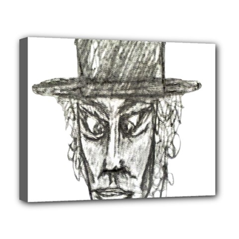 Man With Hat Head Pencil Drawing Illustration Deluxe Canvas 20  x 16