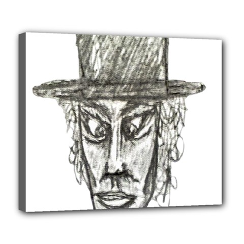 Man With Hat Head Pencil Drawing Illustration Deluxe Canvas 24  x 20