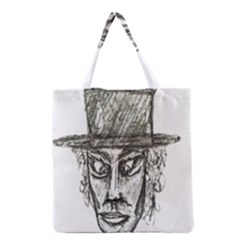 Man With Hat Head Pencil Drawing Illustration Grocery Tote Bag