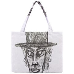 Man With Hat Head Pencil Drawing Illustration Mini Tote Bag