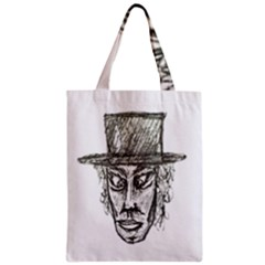 Man With Hat Head Pencil Drawing Illustration Classic Tote Bag
