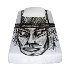 Man With Hat Head Pencil Drawing Illustration Fitted Sheet (Single Size)