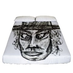 Man With Hat Head Pencil Drawing Illustration Fitted Sheet (Queen Size)