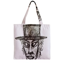 Man With Hat Head Pencil Drawing Illustration Zipper Grocery Tote Bag