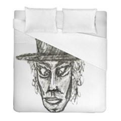Man With Hat Head Pencil Drawing Illustration Duvet Cover (Full/ Double Size)
