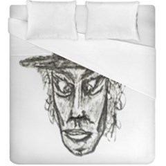 Man With Hat Head Pencil Drawing Illustration Duvet Cover (King Size)