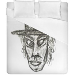 Man With Hat Head Pencil Drawing Illustration Duvet Cover (California King Size)