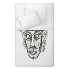 Man With Hat Head Pencil Drawing Illustration Duvet Cover (Single Size)