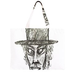 Man With Hat Head Pencil Drawing Illustration Large Tote Bag