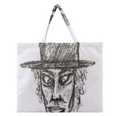 Man With Hat Head Pencil Drawing Illustration Zipper Large Tote Bag