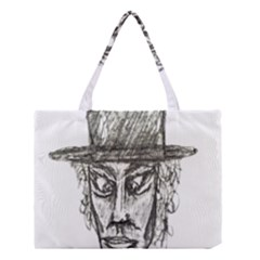 Man With Hat Head Pencil Drawing Illustration Medium Tote Bag